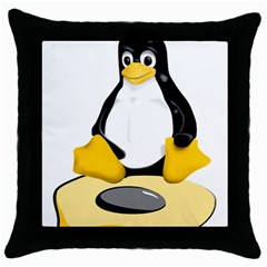 Linux Black Side Up Egg Black Throw Pillow Case