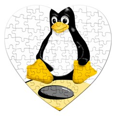linux black side up egg Jigsaw Puzzle (Heart)