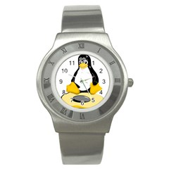 linux black side up egg Stainless Steel Watch (Slim)