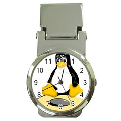 linux black side up egg Money Clip with Watch