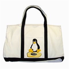 linux black side up egg Two Toned Tote Bag