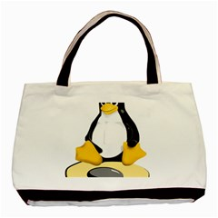 linux black side up egg Twin-sided Black Tote Bag