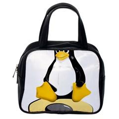 Linux Black Side Up Egg Classic Handbag (one Side)