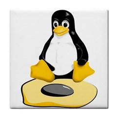 Linux Black Side Up Egg Face Towel