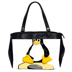 linux black side up egg Oversize Office Handbag (Two Sides)
