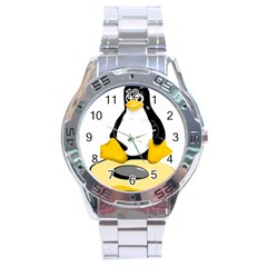 linux black side up egg Stainless Steel Watch