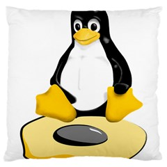 linux black side up egg Large Cushion Case (Single Sided)