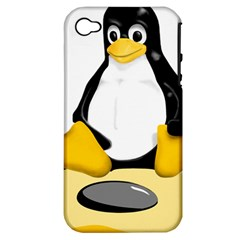 Linux Black Side Up Egg Apple Iphone 4/4s Hardshell Case (pc+silicone)