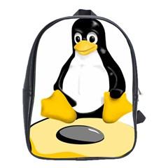 linux black side up egg School Bag (XL)