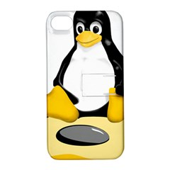 linux black side up egg Apple iPhone 4/4S Hardshell Case with Stand
