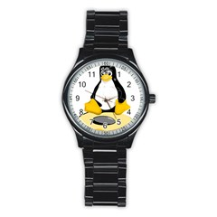 Linux Black Side Up Egg Sport Metal Watch (black)