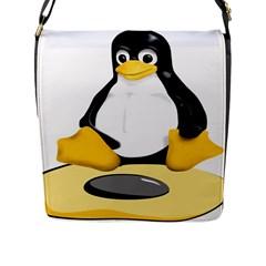 linux black side up egg Flap Closure Messenger Bag (Large)
