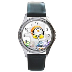 LINUX VERSIONS Round Leather Watch (Silver Rim)