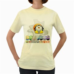 LINUX VERSIONS  Womens  T-shirt (Yellow)