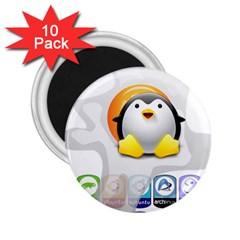 Linux Versions 2 25  Button Magnet (10 Pack)