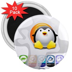 LINUX VERSIONS 3  Button Magnet (10 pack)