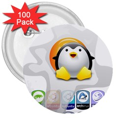 LINUX VERSIONS 3  Button (100 pack)