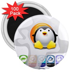 LINUX VERSIONS 3  Button Magnet (100 pack)