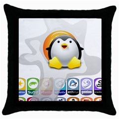 Linux Versions Black Throw Pillow Case