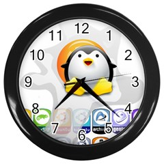 LINUX VERSIONS Wall Clock (Black)