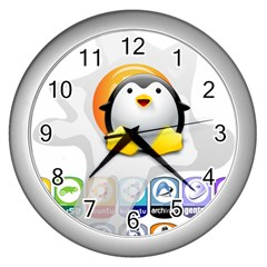 LINUX VERSIONS Wall Clock (Silver)