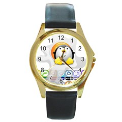 LINUX VERSIONS Round Leather Watch (Gold Rim)