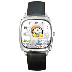 LINUX VERSIONS Square Leather Watch