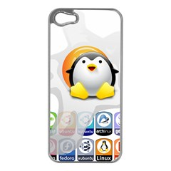 LINUX VERSIONS Apple iPhone 5 Case (Silver)