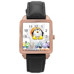 Linux Versions Rose Gold Leather Watch