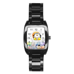 LINUX VERSIONS Stainless Steel Barrel Watch