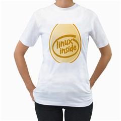 LINUX INSIDE EGG Womens  T-shirt (White)