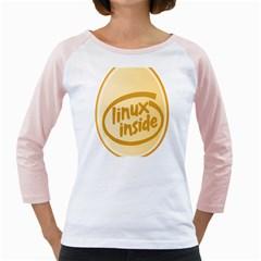 LINUX INSIDE EGG Women s Long Cap Sleeve T-Shirt (White)