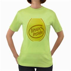 LINUX INSIDE EGG Womens  T-shirt (Green)