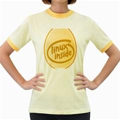 Linux Inside Egg Womens  Ringer T Shirt (colored)
