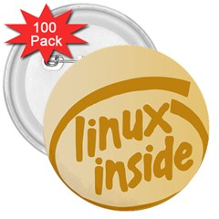 LINUX INSIDE EGG 3  Button (100 pack)