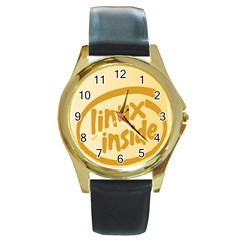 LINUX INSIDE EGG Round Leather Watch (Gold Rim)
