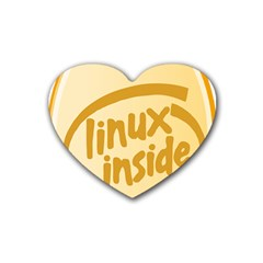 LINUX INSIDE EGG Drink Coasters 4 Pack (Heart)