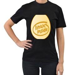 LINUX INSIDE EGG Womens' T-shirt (Black)