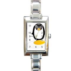 Linux Tux Pengion Oops Rectangular Italian Charm Watch