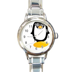 Linux Tux Pengion Oops Round Italian Charm Watch