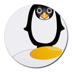 Linux Tux Pengion Oops 8  Mouse Pad (Round)