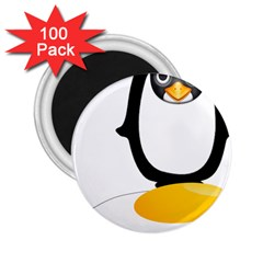 Linux Tux Pengion Oops 2 25  Button Magnet (100 Pack)