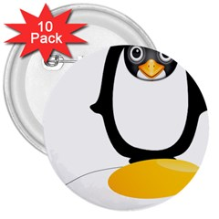 Linux Tux Pengion Oops 3  Button (10 pack)