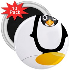 Linux Tux Pengion Oops 3  Button Magnet (10 Pack)