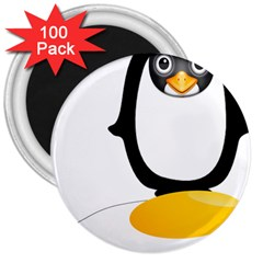 Linux Tux Pengion Oops 3  Button Magnet (100 Pack)