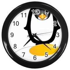 Linux Tux Pengion Oops Wall Clock (black)
