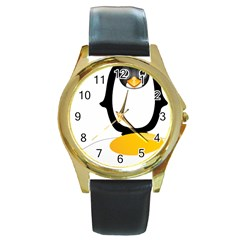 Linux Tux Pengion Oops Round Leather Watch (Gold Rim)