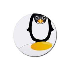 Linux Tux Pengion Oops Drink Coaster (Round)