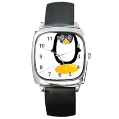 Linux Tux Pengion Oops Square Leather Watch