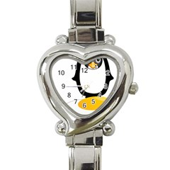 Linux Tux Pengion Oops Heart Italian Charm Watch